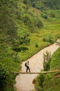 Needing to cross to the other side Lev found a makeshift bridge over the river Mbriumbe River in the Rwandan countryside. (Tom McShane Photography)