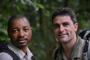 Boston & Lev in the  Nyungwe forest.  (Tom McShane Photography)